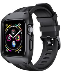 Apple Watch 38MM Hoesje Robuust Full Protect met Siliconen Band Zwart