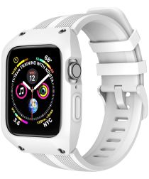 Apple Watch 42MM Hoesje Robuust Full Protect met Siliconen Band Wit
