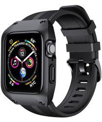 Apple Watch 44MM Hoesje Robuust Full Protect met Siliconen Band Zwart