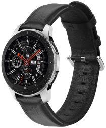 Universeel Smartwatch 20MM Bandje Echt Leer met RVS Gespsluiting Zwart