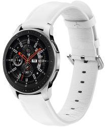 Universeel Smartwatch 20MM Bandje Echt Leer met RVS Gespsluiting Wit