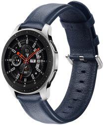 Universeel Smartwatch 20MM Bandje Echt Leer met RVS Gespsluiting Blauw