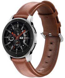 Universeel Smartwatch 20MM Bandje Echt Leer met RVS Gespsluiting Bruin