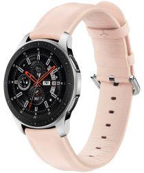 Universeel Smartwatch 22MM Bandje Echt Leer met RVS Gespsluiting Roze