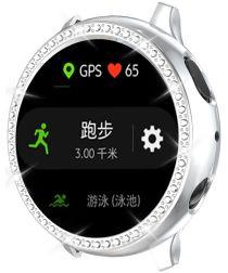 Samsung Watch Active 2 44MM Hoesje Hard Plastic met Diamantjes Zilver