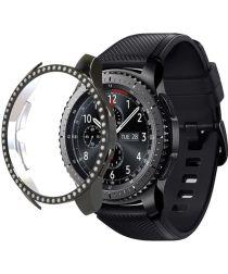 Samsung Galaxy Watch 46MM Hoesje Hard Plastic met Diamantjes Zwart