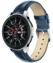 Universeel Smartwatch 22MM Bandje Echt Leer met Krokodil Textuur Blauw