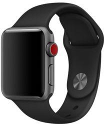 Apple Watch 44MM / 42MM Bandje Siliconen met Drukknoop Sluiting Zwart
