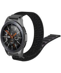 Universeel Smartwatch 22MM Bandje Nylon met Klittenband Zwart