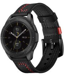 Universeel Smartwatch 22MM Bandje Echt Leer met Dubbele Stiksels Zwart