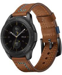 Universeel Smartwatch 22MM Bandje Echt Leer met Dubbele Stiksels Bruin