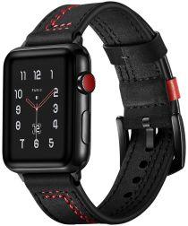 Apple Watch 44MM / 42MM Bandje Echt Leer met Dubbele Stiksels Zwart