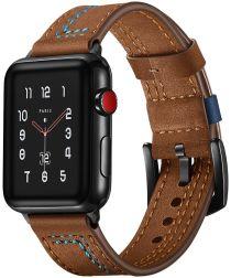 Apple Watch 40MM / 38MM Bandje Echt Leer met Dubbele Stiksels Bruin