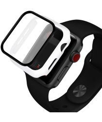 Apple Watch 38MM Hoesje Hard Plastic Bumper met Tempered Glass Wit
