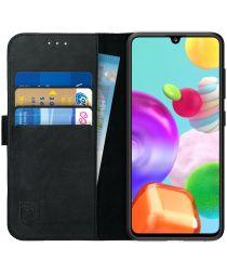 Rosso Deluxe Samsung Galaxy A41 Hoesje Echt Leer Book Case Zwart