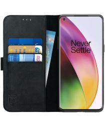 Rosso Deluxe OnePlus 8 Hoesje Echt Leer Book Case Zwart