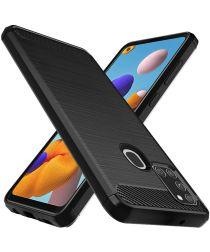 Samsung Galaxy A21S Hoesje Geborsteld TPU Flexibel Zwart