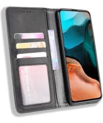 Xiaomi Poco F2 Pro Hoesje Book Case Retro Portemonnee Zwart