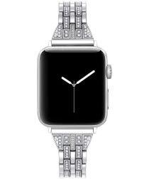 Apple Watch 44MM / 42MM Bandje RVS Schakelband met Diamantjes Zilver