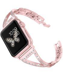 Apple Watch 44MM / 42MM Bandje RVS Armband met Diamant Design Zilver