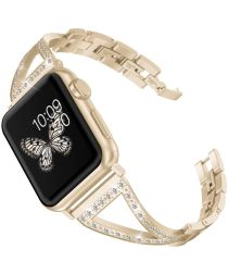 Apple Watch 44MM / 42MM Bandje RVS Armband met Diamant Design Goud