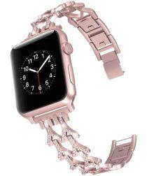 Apple Watch 44MM / 42MM Bandje Diamant Design RVS Armband Roze Goud