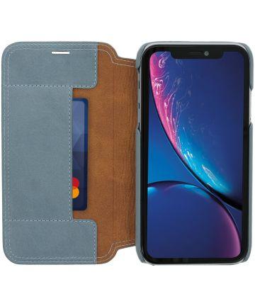 Minim Apple iPhone XR Hoesje Echt Leer Book Case Blauw Hoesjes