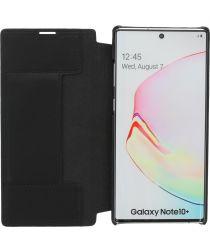 Minim Samsung Galaxy Note 10+ Hoesje Echt Leer Book Case Zwart