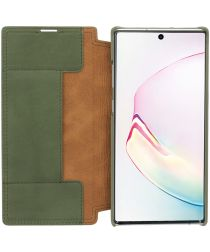 Minim Samsung Galaxy Note 10+ Hoesje Echt Leer Book Case Groen