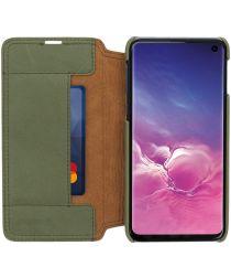 Minim Samsung Galaxy S10 Hoesje Echt Leer Book Case Groen