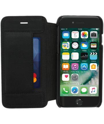 Minim Apple iPhone SE (2020) / 8 / 7 Hoesje Echt Leer Book Case Zwart