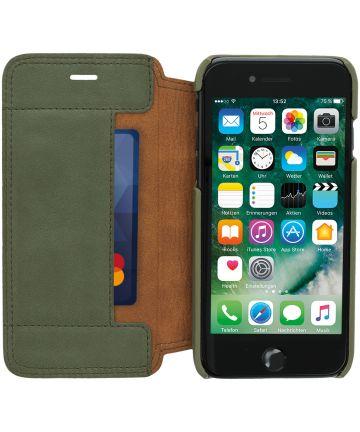 Minim Apple iPhone SE (2020) / 8 / 7 Hoesje Echt Leer Book Case Groen Hoesjes