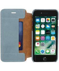 Minim Apple iPhone 7/8 Hoesje Echt Leer Book Case Blauw