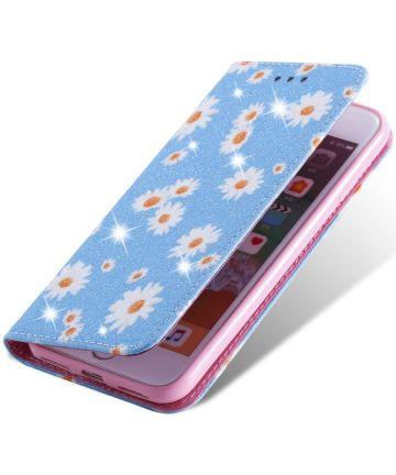 Apple iPhone 7 / 8 /SE 2020 Hoesje Portemonnee Hoesje Bloemen Blauw Hoesjes