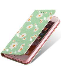 Apple iPhone 7 / 8 /SE 2020 Hoesje Portemonnee Hoesje Bloemen Groen