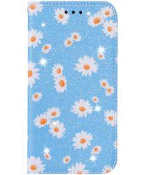 Apple iPhone 11 Pro Portemonnee Hoesje met Bloemen Print Blauw