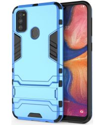Samsung Galaxy M21 Hoesje Back Cover Met Kickstand Licht Blauw