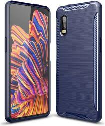 Samsung Galaxy Xcover Pro Geborsteld TPU Hoesje Blauw