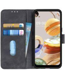 LG K61 Book Case Hoesje Portemonnee Retro Zwart