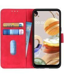 LG K61 Book Case Hoesje Portemonnee Retro Rood