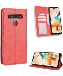LG K51S Lederen Wallet Stand Hoesje Rood