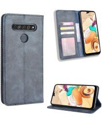 LG K51S Lederen Wallet Stand Hoesje Blauw