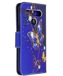 LG K61 Hoesje Portemonnee Print Hoesje Donker Blauw Met Vlinders