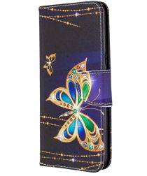 LG K61 Hoesje Portemonnee Print Hoesje Zwart Met Vlinders