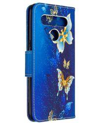 LG K61 Hoesje Portemonnee Print Hoesje Donker Blauw Met Gouden Vlinder