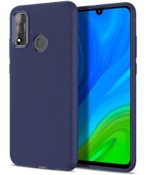 Huawei P Smart 2020 Hoesje Twill Slim Texture Back Cover Blauw