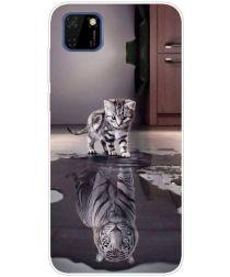 Huawei Y5p TPU Back Cover Met Kat/Tijger Reflectie Print