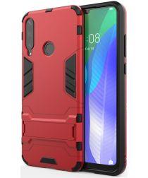 Huawei Y6p Hybride Hoesje met Kickstand Rood