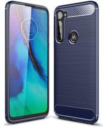 Motorola Moto G Pro Geborsteld TPU Hoesje Blauw
