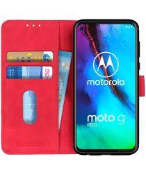 Motorola Moto G Pro Book Case Hoesje Portemonnee Retro Rood